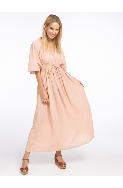 vestido largo boho estampado en color salmon  regular fit
